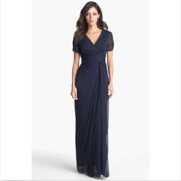 Adrianna Papell Dresses Blue Drape Ruched Maxi Dress Poshmark